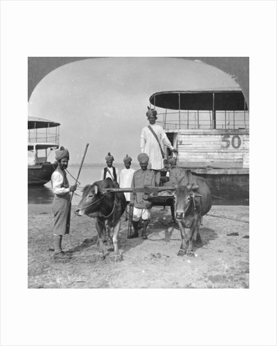Military transport cart with an escort of Indian soldiers, Burma by Stereo Travel Co