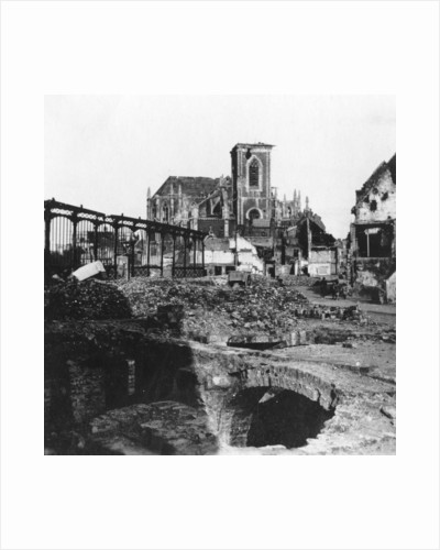 Damaged exterior of the Church of St Vaast, Armentières, France, World War I by Nightingale & Co