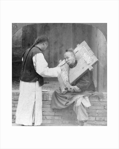 Feeding a prisoner wearing a cangue, China by CH Graves