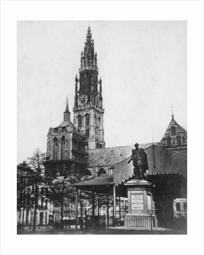 Antwerp Cathedral and statue of the artist Peter Paul Rubens, Belgium by Anonymous
