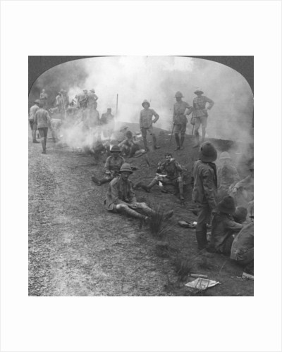 'Early morning camp fires and breakfast in the Persian Gulf', World War I by Realistic Travels Publishers