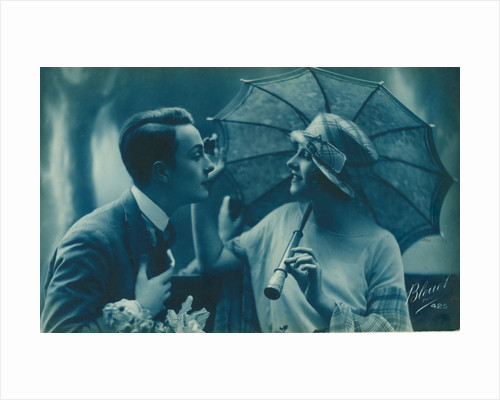 Postcard of romantic vintage couple, in blue by Anonymous