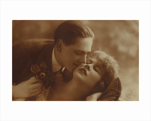 Postcard of romantic vintage couple, in sepia by Anonymous