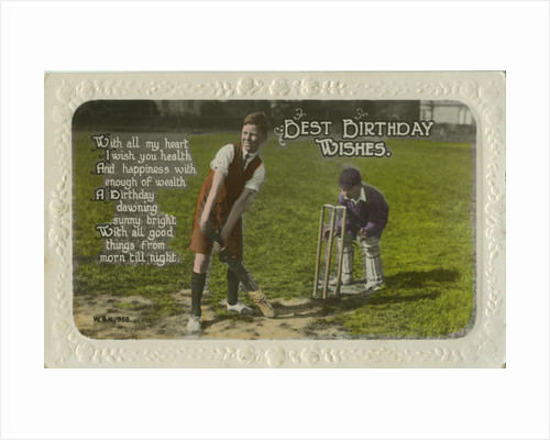 Birthday card featuring two boys playing cricket by Anonymous