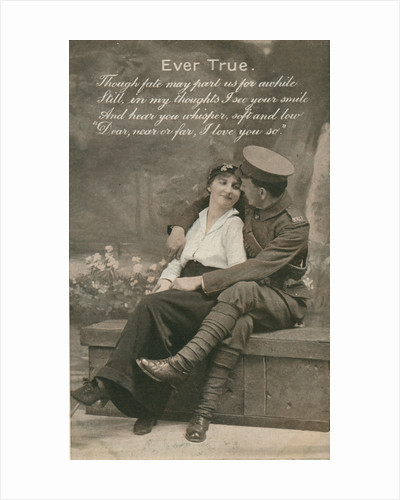 Romantic postcard featuring a soldier and his sweetheart, c1914-18 by Anonymous