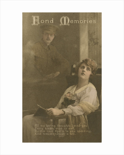 'Fond Memories', romantic postcard sent from a soldier to his sweetheart by Anonymous