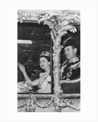 Queen Elizabeth II and Duke of Edinburgh in the State Coach, The Coronation by Anonymous