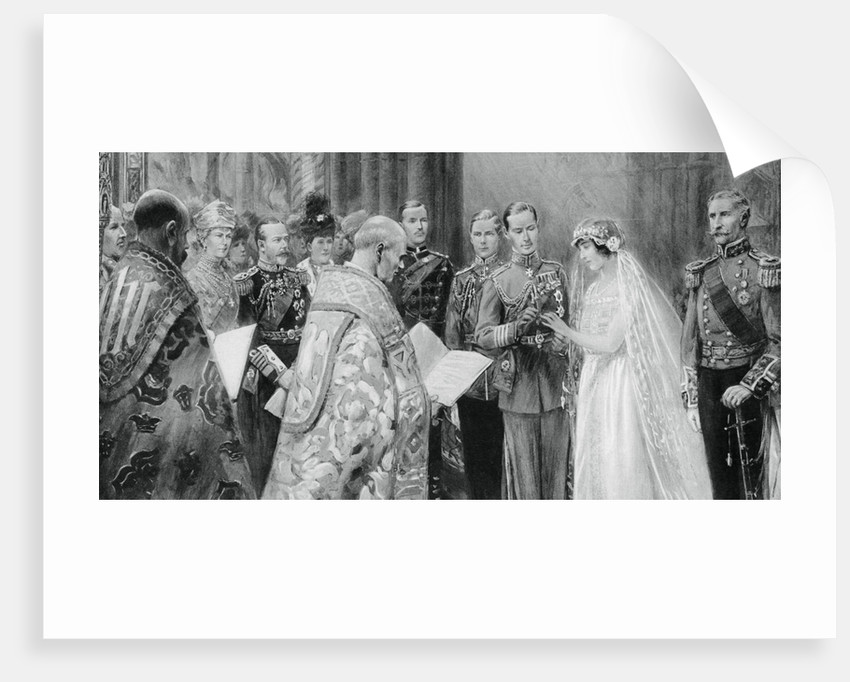 The Duke of York placing the ring on Lady Elizabeth Bowes-Lyon's finger by Anonymous