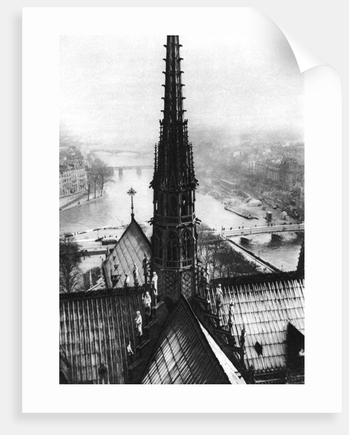The spire of Notre Dame seen from the towers, Paris by Ernest Flammarion