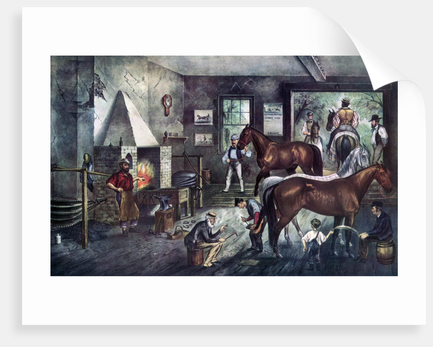 Trotting Cracks at the Forge by Currier and Ives