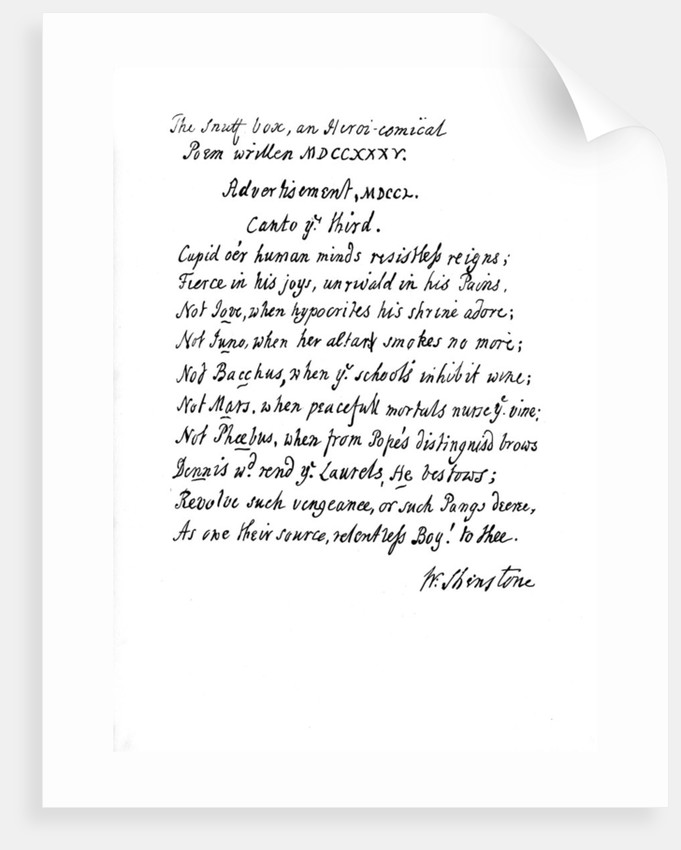 Part of Shenstone's poem, The Snuff Box by William Shenstone