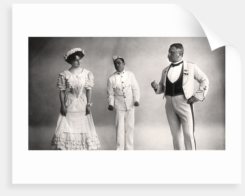 Florence Jameson, Reginald Switz and Alfred clarke in a scene from The Blue Moon by Foulsham and Banfield