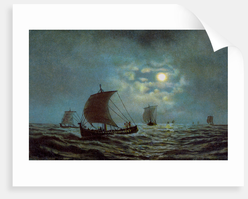 Sailing boats at night time by Anonymous