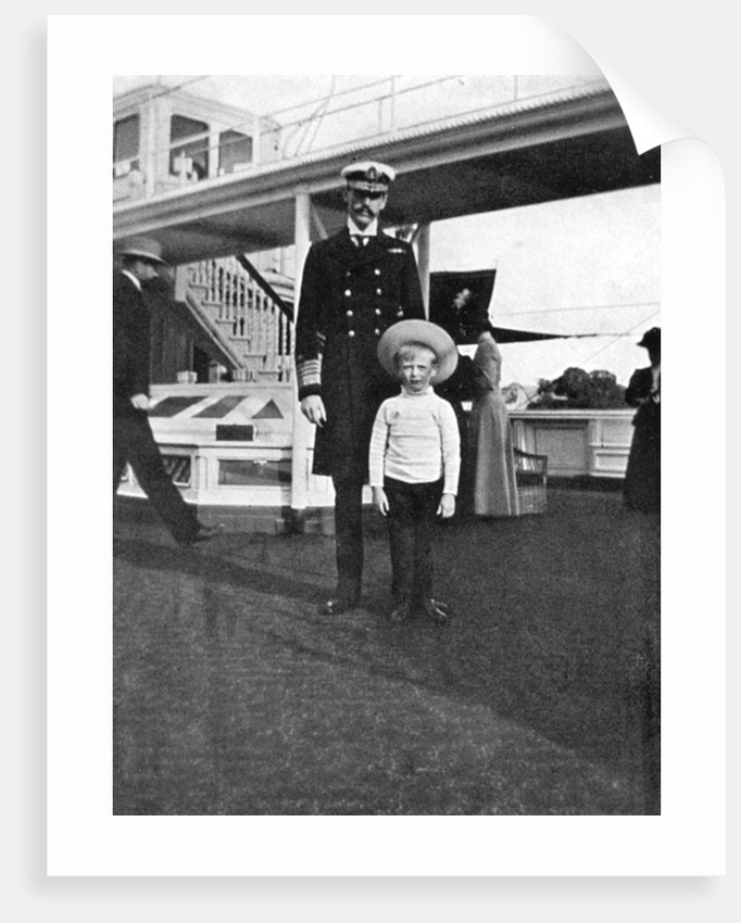 King Haakon VII Of Norway 1872 1957 With His Son Olav By Queen