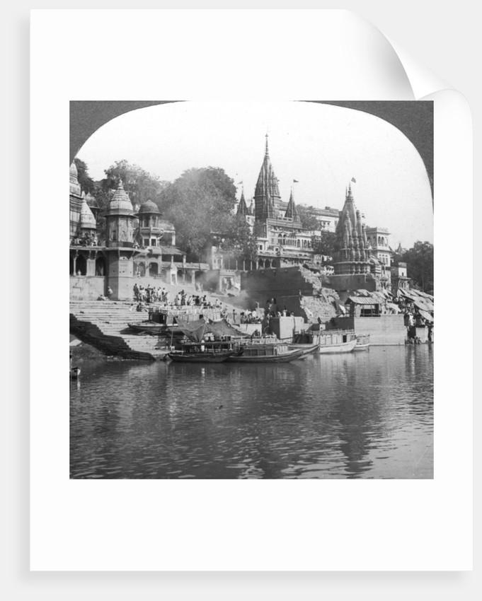 A burning ghat on the Ganges at Benares (Varanasi), India by Underwood & Underwood