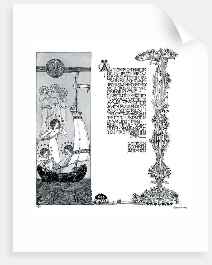 An illustration for Wynken, Blynken and Nod by Jessie Marion King