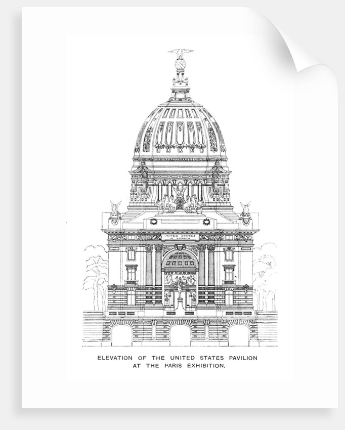 Elevation of the United States Pavilion at the Paris Exhibition by Anonymous