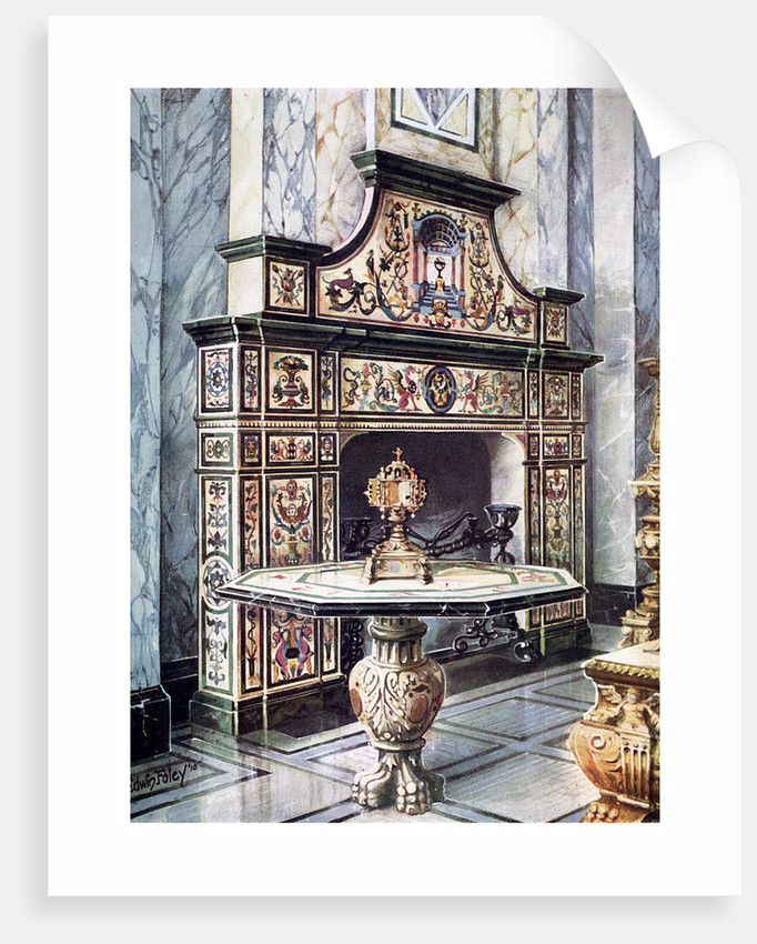 Chimneypiece and table in coloured Florentine mosaic by Edwin Foley