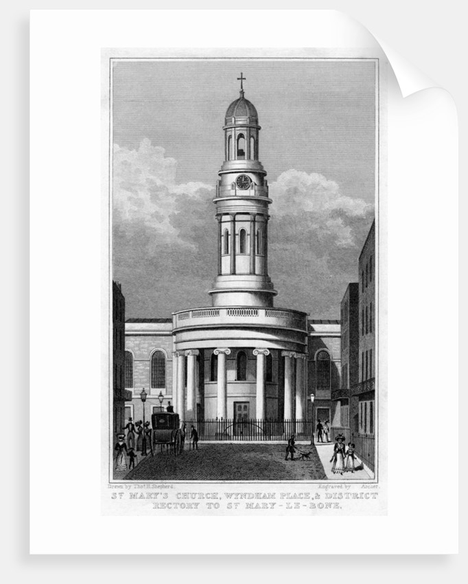 St Mary's Church, Wyndham Place, and District Rectory to St Mary Le Bone, London by Archer