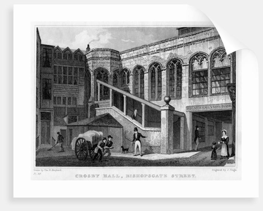 Crosby Hall, Bishopsgate Street, City of London by J Tingle
