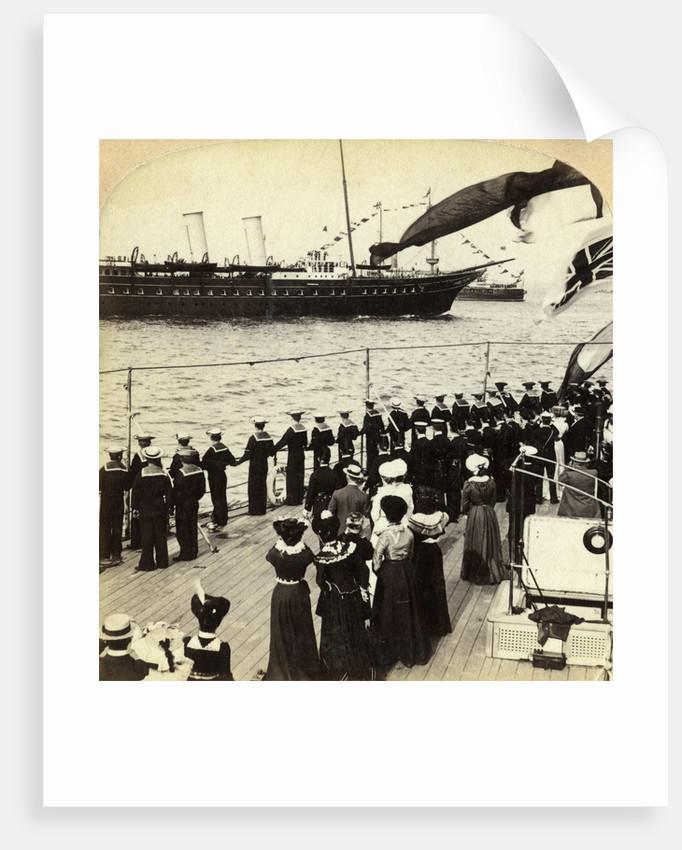 Royal Yacht passing the battleship HMS Nile, Coronation Review, Spithead, Hampshire by Underwood & Underwood