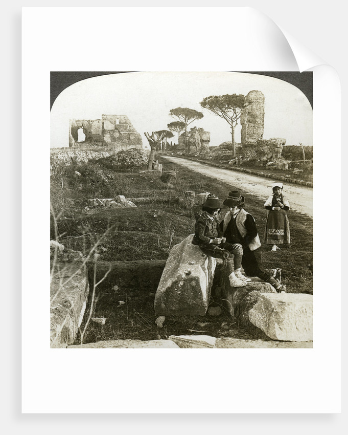 Tombs and children in traditional dress, Appian Way, Rome, Italy by Underwood & Underwood