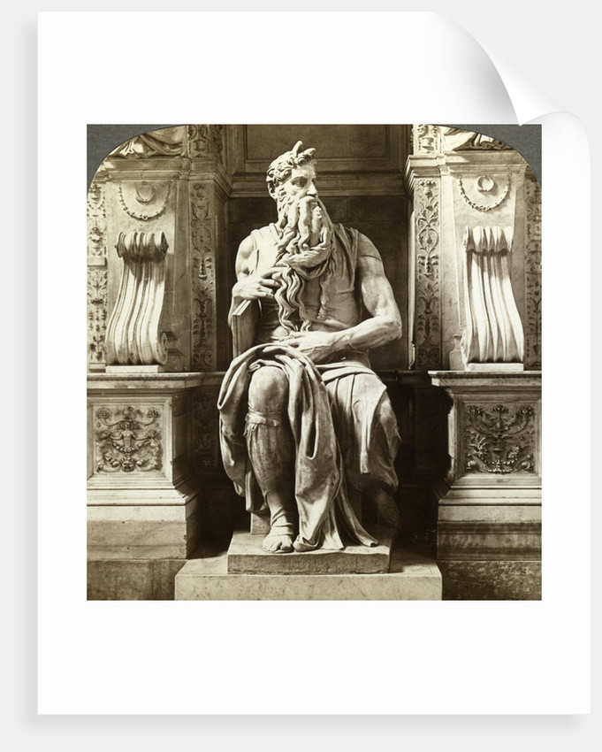 Michelangelo's statue of Moses, Church of San Pietro in Vincoli, Rome, Italy by Underwood & Underwood