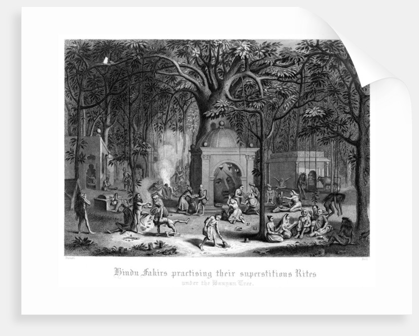 Hindu Fakirs Practising Their Superstitious Rites Under the Banyan Tree by Bell