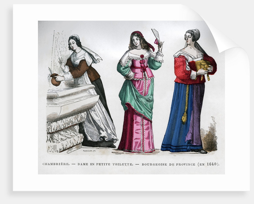 Chambermaid, lady and provincial bourgeoise lady by Tamisier