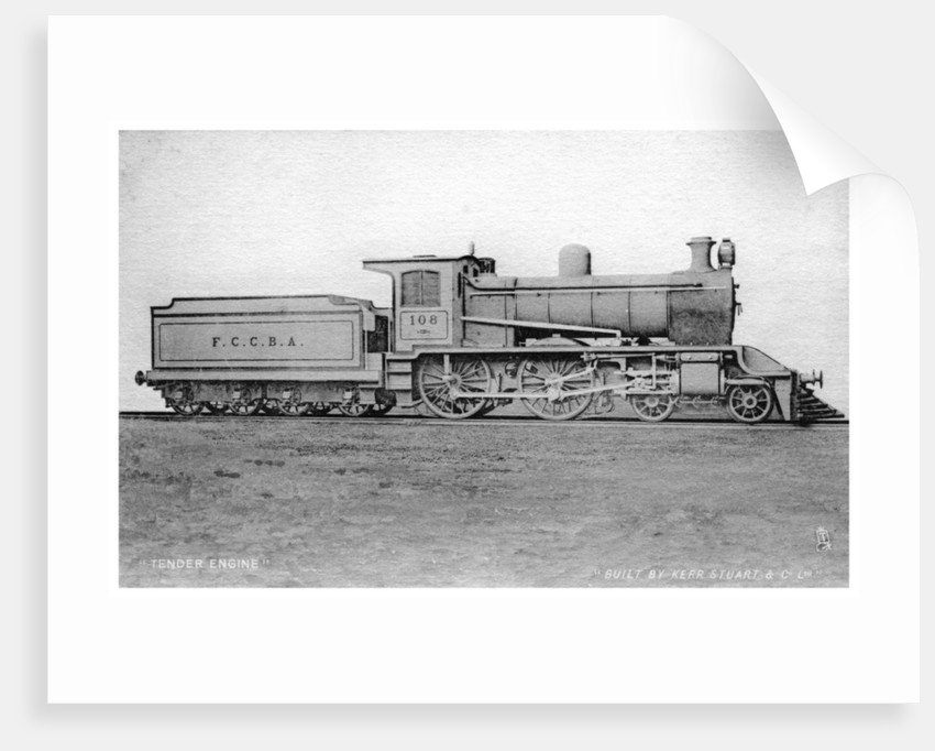 4-4-0 tender engine, steam locomotive built by Kerr, Stuart and Co by Raphael Tuck