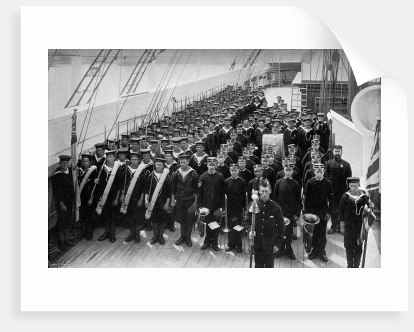 A marching out battalion parade on board the training ship HMS Lion by WM Crockett