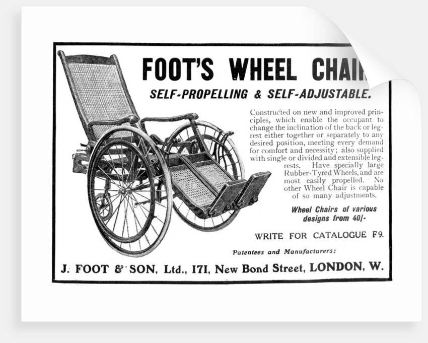 Advert for Foot's wheelchairs