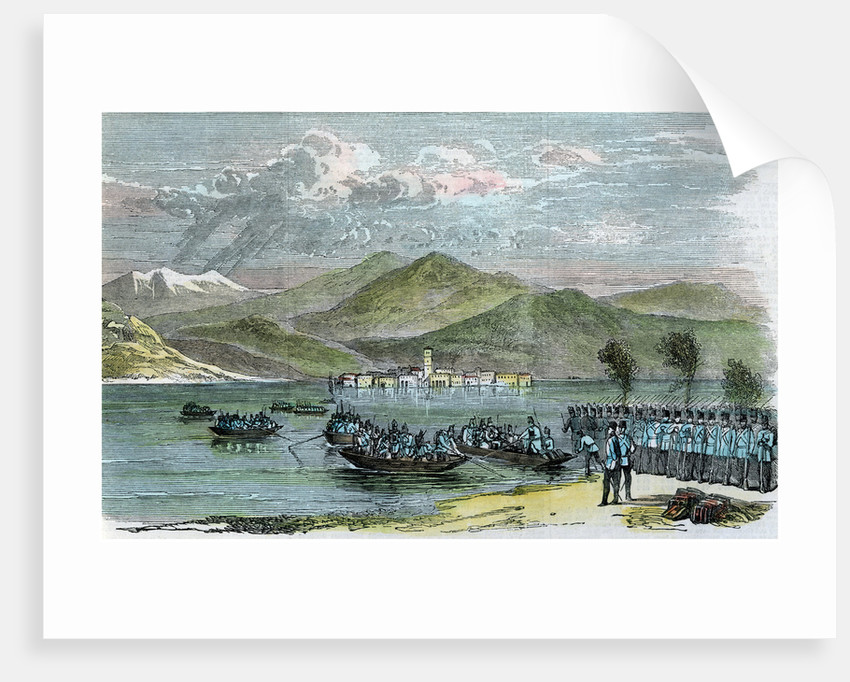 'The war, Austrians crossing the Lago Maggiore', Italy by Anonymous