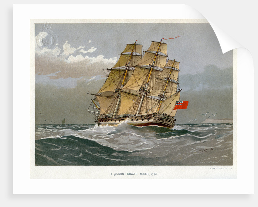 A Royal Navy 38 gun frigate by William Frederick Mitchell