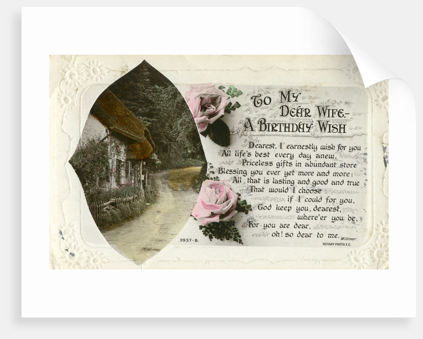 Birthday Postcard From A Husband To His Wife Posters Prints By