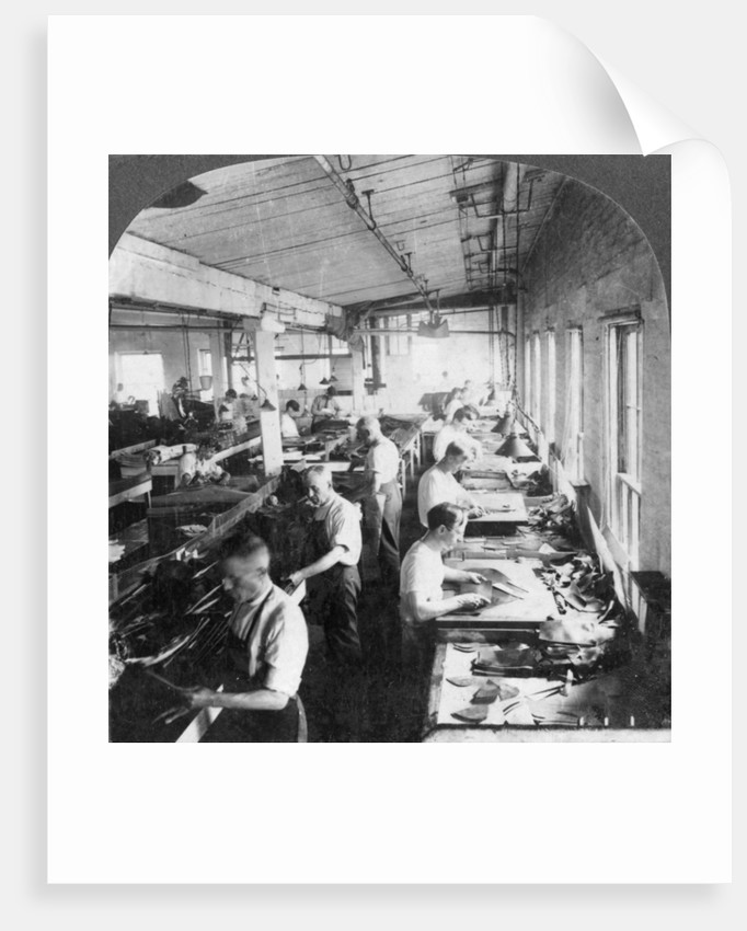 Workers cutting leather for shoes in a factory, Lynn, Massachusetts, USA by Keystone View Company