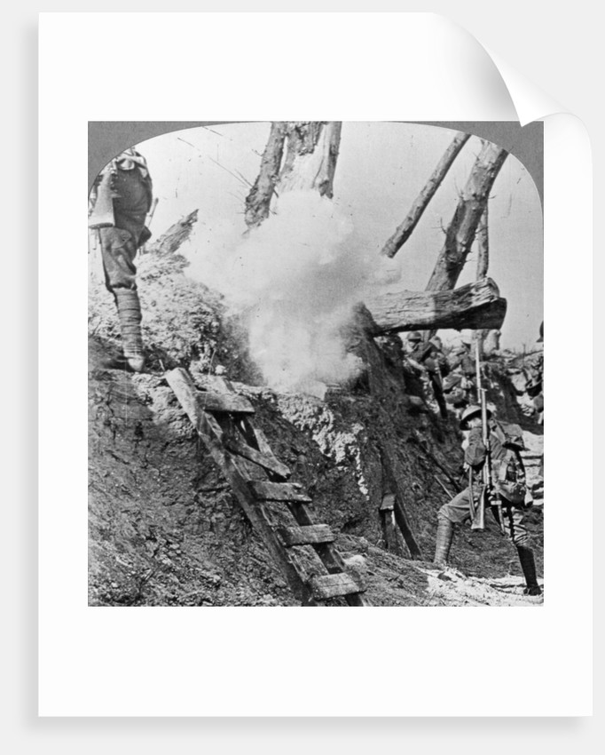 British troops going over the top, Flanders, Belgium, World War I by Realistic Travels Publishers