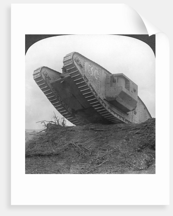 'A tank breaking through the wire at Cambrai', France, World War I by Realistic Travels Publishers