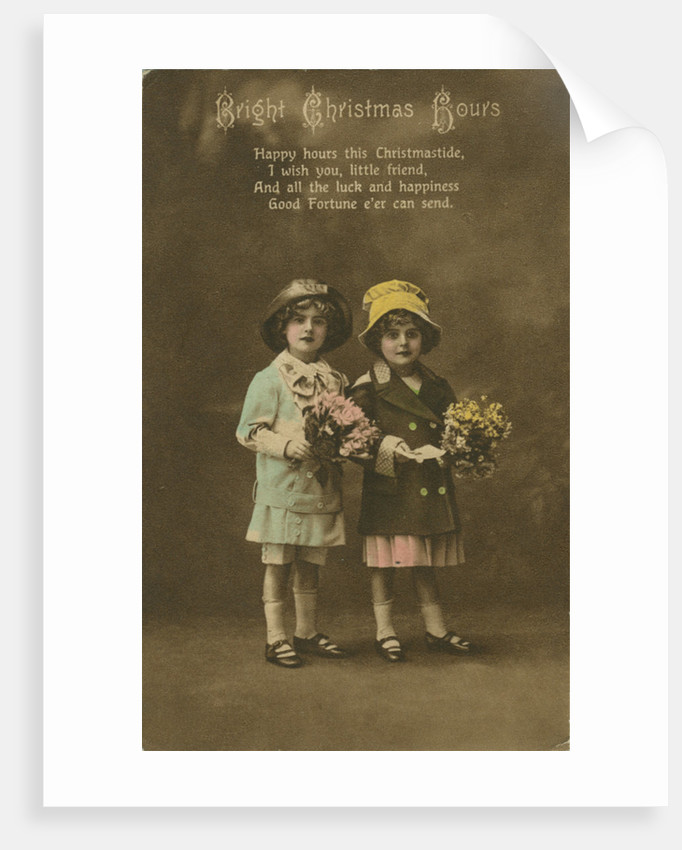'Bright Christmas Hours' vintage Christmas card by Anonymous
