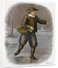 Dutch Man Skating with a Basket of Vegatables by W Dickes