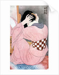 A Girl Dressing her Hair', or, 'Woman with an Undersash by Ito Shinsui