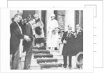 King George V waves good wishes to Princess Maud as she leaves for her honeymoon by Anonymous