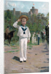 Edward, Prince of Wales, saluting the colours by Anonymous