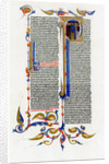 Page of text with illuminated initial letter by Anonymous