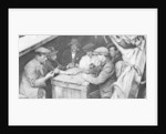 A bargee and his mates play dominoes in the hold of a canal boat by Anonymous