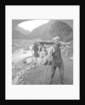 A Japanese kago, occupant and carriers, Japan by BL Singley