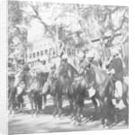 Punjabi horsemen outside the railway station at Delhi, India by H Hands & Son