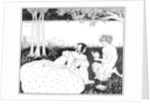Pan reading to a woman by a brook by Aubrey Beardsley