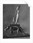 King Tutankhamen (c1341 BC-c1323 BC) on a black leopard by Anonymous