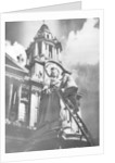 Cleaning the statue of Queen Anne as part of King George V's silver jubilee celebrations by Anonymous